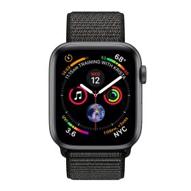 Apple Watch 4 grau Sport Loop schwarz